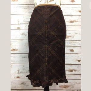FREE PEOPLE Ruffled Hem Plaid Skirt Sz 0
